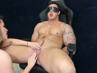 Jock tied up and sucked off by curvy goddess!