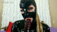 Fuck deep red tube Latex gagging, throat bulge, deepthroat, face fuck, red eyes tears