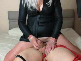 Husband has spiked chastity cage removed for edging