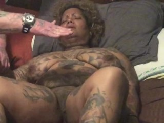 Tattooed Ebony Milf gets her pussy slapped and begs to cum.