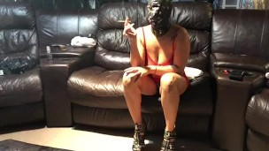 Cockold my husband with a huge bbc  mask cheating wife smoking dirty talk