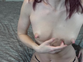 Milf spraying breast milk from milky boobs and massaging close up 4K HD