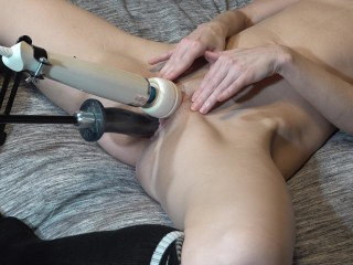 Milf gets fucked by fucking machine and magic wand on clit for orgasmic fun