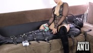 Bdsm electrical devices Femdom bondage sleepsack and electric cbt with daddy an li
