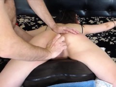 Cordie Strapped To Sofa Face Down Culo Up Pov