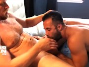 Big hung blond stud barebacks little muscle stud