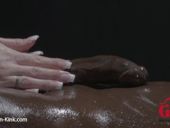 Horny Hand-job And Lubricant Rubdown With Dark-hued Hefty Dick