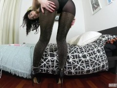 Faye Taylor Gold Pantyhose Dual Pussy