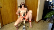 Sex machines and breast vacuum devices Abused teen tied up and tormented with sex machine and wand past squirting