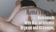 Homemade wife nude Hannas diary 16: homemade wife has an intense orgasm and creampie.