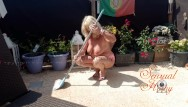 Ewa big tits naked in public Cleaning my terrace in high heels, ended up all naked - curvy mature
