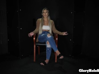 Demi swallows strangers cum in the gloryhole