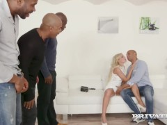 Private.com Introduces Super-fucking-hot Ash-blonde Victoria Unspoiled Ruined By 4 Fat Dark-hued Cocks!