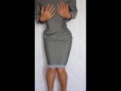 Sexy secretary on high heels tries on panties and masturbates
