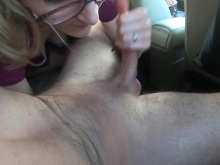 MUST SEE huge public cumshot after sucking and cowgirl in the car
