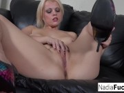 Nadia stuffs her tight pussy with dildo