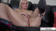 White sutff on the clitoris Nadia stuffs her tight pussy with dildo