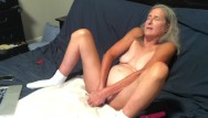 Long dildo of the law Hot milf takes a long ride on her dildo while hubby watches mature granny