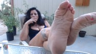 Free outdoor mature Wrinkled mature feet pov outdoors- you worship while i smoke
