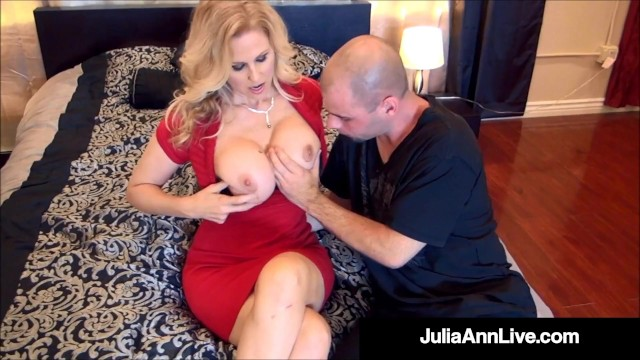 magic muff julia ann plays with her hairy pussy with 2 lucky dicks!