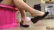 Flat nude girl bodybuilders Barefoot girl shoeplay in shiny ballet flats