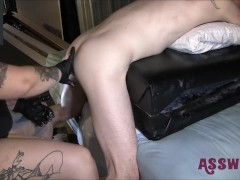 Tattooed Cougar Arches Him Over And Offers Him A Raunchy Fisting