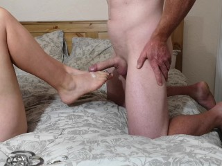 Chastity Release – Hubby has orgasm ruined from dry foot job