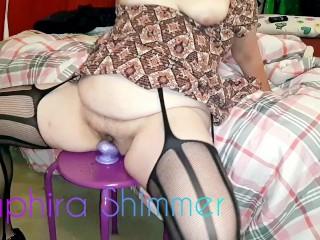 Mommy fucks her big purple dildo when home alone