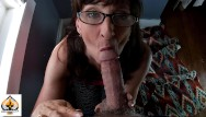 Milf sexy suck - Sexy milf wearing glasses sucks and drains a fat cock