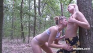 Actor nude walking into restaurant Nature walk in the woods turns into strap on hot sex session
