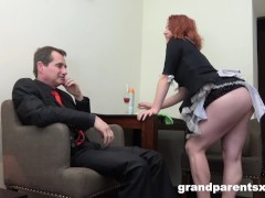 Redhead Maid Gets Torn Up At Work