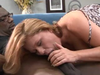 Blonde Milf squirts hard on a massive black cock