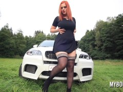 Sexy Ginger-haired Starlet Alexsis Faye Displays On Fitness Car