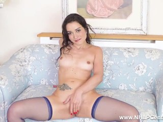 brunette valentina bianco finger fucks her pussy in just nylons and heels