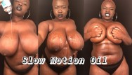 Nude body building females Slow motion bbw rubbing oil on big natural tits body