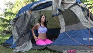 Camp cock Real step brother and sister fuck in tent during family camping trip