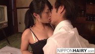 Japanese cum slut Japanese slut gets her hairy pussy toyed