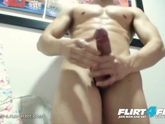 Flirt4Free - Hercules G - Sexy Athletic Muscle Stud Jerks Off Monster Cock