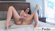 Tight ass hairy pussy Alison plays with her tight wet pussy