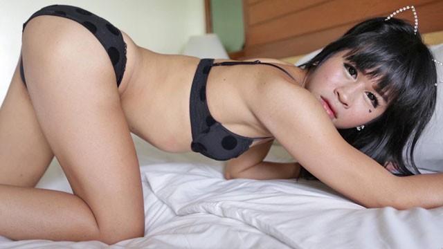 HELLOLADYBOY Petite Asian Ladyboy Spits on Big Cock