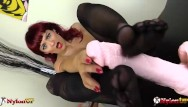 Milf rider Sexy redhead footjob wearing five toes pantyhose