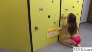 Funny games slut trio Japanese wall of dicks blowjob game with cum swallowing