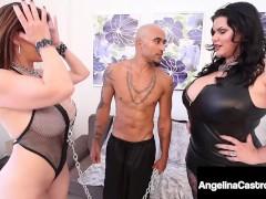 Thick Curvaceous Cuban Angelina Castro & A Gigantic Ebony Manmeat Poke Buxomy Sara Jay!