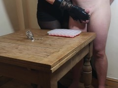 Chastity Whip Out - First Demolished Orgasm For The Xmas Ice Cube Challenge