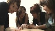 Women give handjob Cfnm handjob with cumshot by group of dominant japanese women