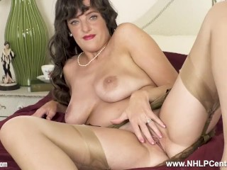 hot busty brunette kate anne teases pussy in vintage nylons girdle mules