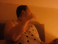 Bbw Bombshell Smoking For You In Hot Cosy Lighting