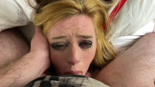 Babyybutt facefuck pov gagging with her pretty eyes