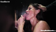 Blowjob gloryhole contest Busty mom eats strangers cocks in gloryhole