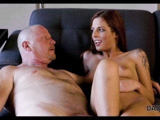 DADDY4K. Boyfriends bald dad gives money for sex with hot redhead
